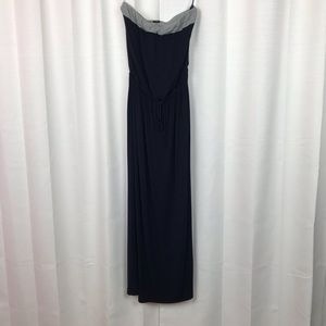 J Crew Navy Blue Halter Top Maxi Dress Sz.S